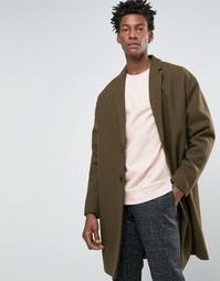 Полушерстяное пальто болотного цвета ASOS - Зеленый