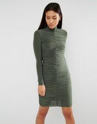 Платье с длинными рукавами и сборками Club L - Зеленый