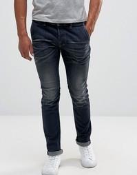 Темные выбеленные джинсы слим Diesel Kakee - Синий