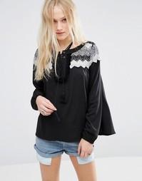 Блузка со вставкой кроше Hazel - Черный