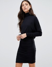 Облегающее платье с высоким воротником Ganni - Черный