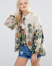 Блузка с кружевной вставкой и принтом Hazel - Мульти