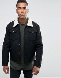 Шерстяная куртка с воротником борг Jack & Jones - Черный