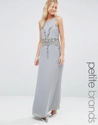 Платье макси с открытой спинкой Maya Petite - Серый