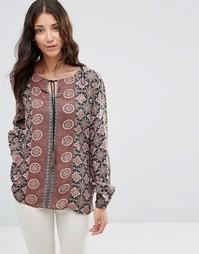 Богемная блузка с завязкой b.Young Fanda - Коричневый