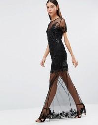 Платье макси с вышивкой и цветочным принтом Maya - Черный