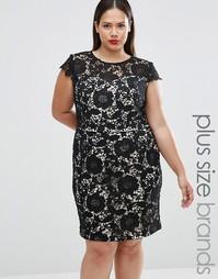 Кружевное платье с контрастной подкладкой Lovedrobe Plus - Черный