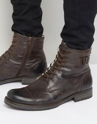 Кожаные теплые ботинки Jack & Jones Siti - Коричневый