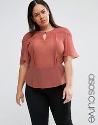 Блузка с фигурной отделкой ASOS CURVE - Розовый