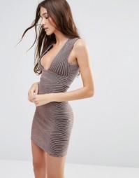 Облегающее платье без рукавов с люрексом и блестками Hedonia - Коричневый