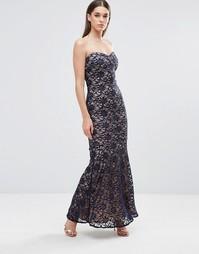 Кружевное платье-бандо макси Sistaglam - Черный