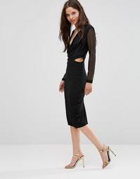 Платье-футляр с сетчатыми рукавами Hedonia - Черный