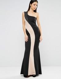 Монохромное платье макси на одно плечо Jessica Wright - Черный