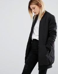 Удлиненная стеганая куртка‑пилот J.D.Y - Черный JDY