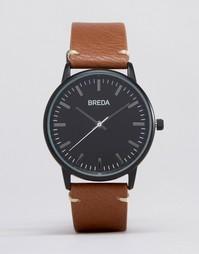 Часы со светло-коричневым кожаным ремешком и черным циферблатом Breda Zapf - Рыжий