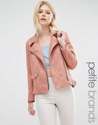 Эксклюзивная байкерская куртка из искусственной замши Missguided Petite - Розовый