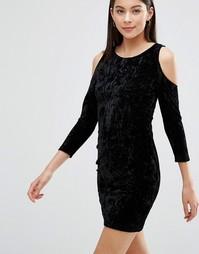 Бархатное платье с вырезами на плечах Parisian - Черный