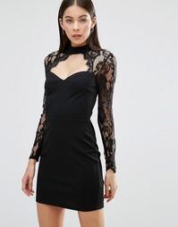 Платье с кружевным верхом Parisian - Черный