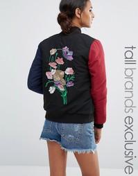 Куртка-пилот с цветочной вышивкой Daisy Street Tall - Мульти