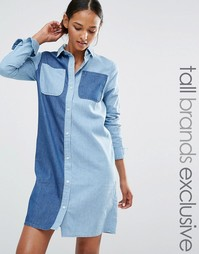 Платье-рубашка из контрастного денима на пуговицах Daisy Street Tall - Синий