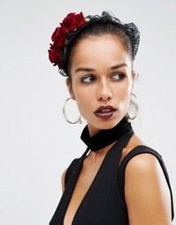 Обруч для волос с кружевом и цветами Suzywan Halloween - Черный