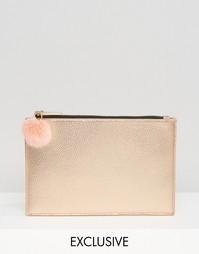 Золотисто-розовый чехол с помпоном и молнией эксклюзивно для Skinnydip - Золотой