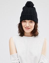 Ажурная шапка крупной вязки с помпоном Johnstons - Черный