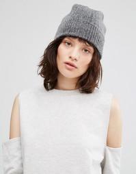 Кашемировая шапка в рубчик Johnstons - Серый