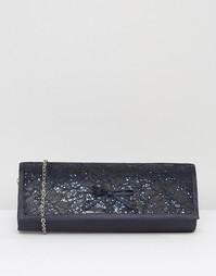 Атласный клатч с вышивкой Lotus Karolina - Темно-синий