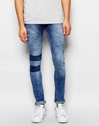 Облегающие джинсы с заплатками на колене Kubban - Синий