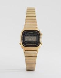 Электронные часы с черным циферблатом и золотистым ремешком Casio Mini LA670WEGA-1EF - Черный