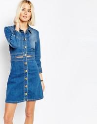 Джинсовое платье‑рубашка с золотистыми пуговицами Gestuz - Синий