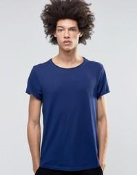 Темно-синяя футболка с широкой горловиной Weekday Jon - Темно-синий