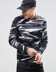 Черный свитшот с круглым вырезом и принтом металлик Weekday Steve - Черный