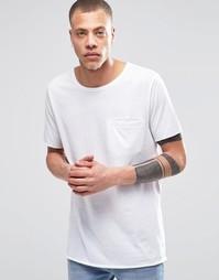 Удлиненная белая футболка с карманом Weekday Spirit - Белый