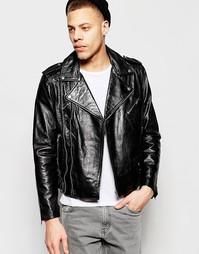 Кожаная байкерская куртка черного цвета с ремешком Weekday Nick - Черный