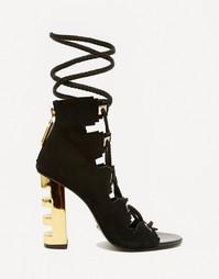 Золотисто-черные сандалии на каблуке Kat Maconie Betsy Ghillie - Черный