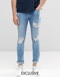 Светлые рваные джинсы скинни из стираного денима Brooklyn Supply Co - Синий