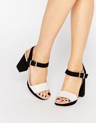Черно-белые сандалии на каблуке из искусственной кожи Miss KG Esther - Черный