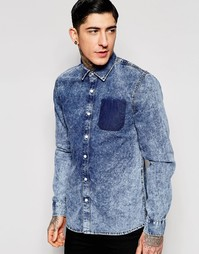 Мраморная рубашка с окрашенной отделкой в виде кармана Kubban - Синий