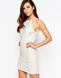 Кружевное платье макси с блестками Lashes Of London Sophia - Кремовый
