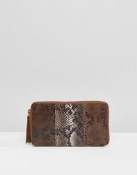 Кожаный кошелек колор блок с эффектом змеиной кожи Urbancode - Коричневый