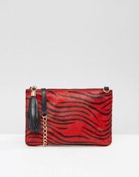 Кожаный клатч с эффектом шерсти пони и съемным ремешком Urbancode - Красный