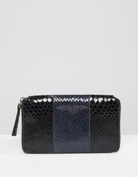 Кожаный кошелек колор блок с эффектом змеиной кожи Urbancode - Темно-синий