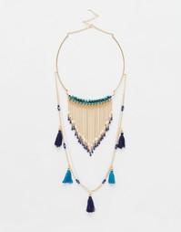 Ожерелье в два ряда с кисточками Ashiana - Золотой