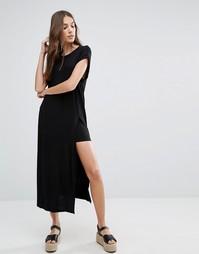 Платье-футболка макси с разрезом Brave Soul - Черный
