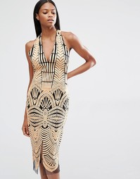 Платье миди с халтером, открытой спинкой и вышивкой Lavish Alice - Коричневый