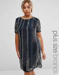 Цельнокройное платье с отделкой Lovedrobe Luxe - Темно-синий