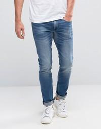 Выбеленные джинсы скинни в винтажном стиле Boss Orange 72 - Синий
