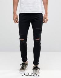 Рваные супероблегающие джинсы Reclaimed Vintage - Черный